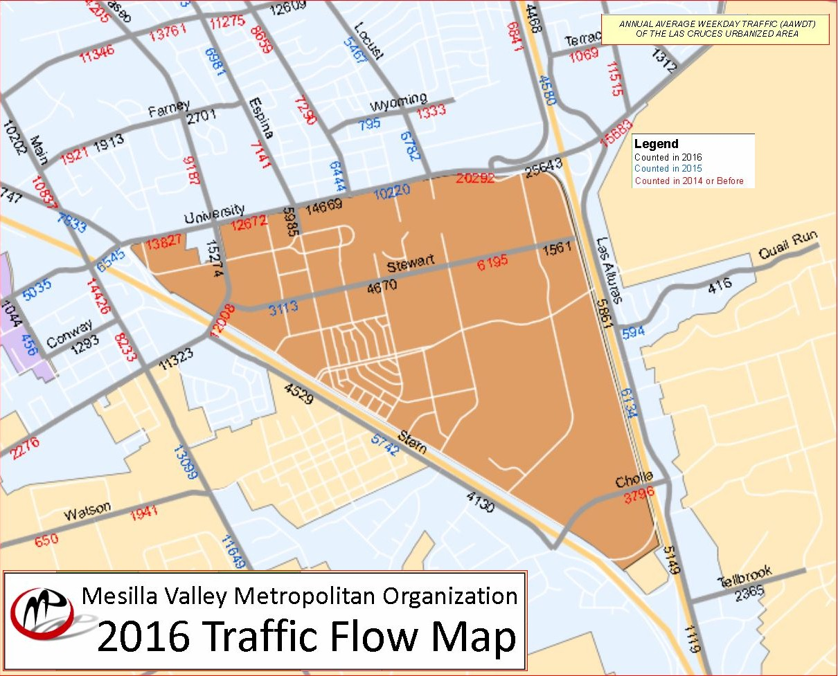 traffic flow map mesilla valley metro area bike safety  mexico state university